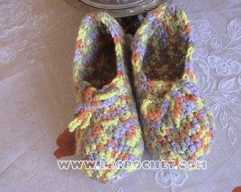 Warm wool crochet slippers