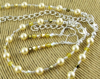 Everyday Elegance Nymeria Gold three piece Swarovski crystal and pearl set includes necklace bracelet and earrings