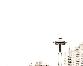 Seattle Space Needle Minimalist White Photograph Wall Art Room Decor Northwest Washington - The Needle a Fine Art Photograph