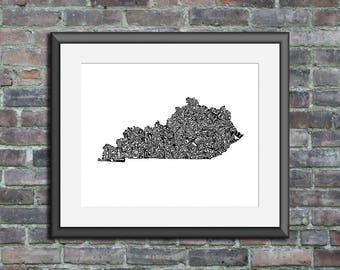 Kentucky typography map art unframed print customizable personalized state poster custom wall decor engagement wedding housewarming gift