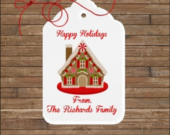 Personalized Christmas Tags - Gingerbread House Tags - Holiday Gift Tags
