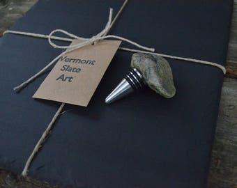 Vermont Black Slate Cheese Board Serving Platter Plate  & Stone Rock Bottle Wine Stopper Topper Set WEDDING GIFT Christmas Holiday