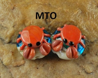 Lampwork Beads, Glass Beads, Made To Order, Crabs, Ocean, Beach, Earring Beads SRA #206 by CC Design