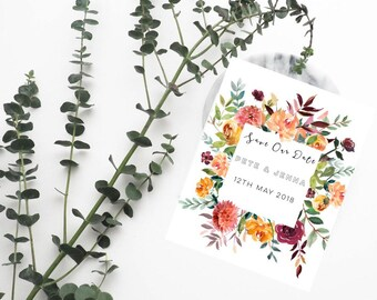 Floral Save the Date postcard magnets-Save the Date magnet-Rustic Wedding magnet-Printed Save the date-Save the date postcards