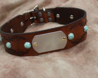 Leather Stone jeweled Dog collar