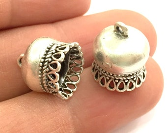 2 Pcs (15x12 mm) Antique Silver Plated Brass  Cones , Findings G5811