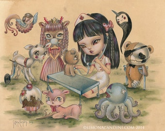 Your Heart Just Needs Some Love To Heal LIMITED EDITION print signed numbered Simona Candini lowbrow nurse pop surreal art big eyes critters