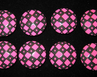 2 inch - Black and Bright HOT Pink Dots and Diamonds - HAND PAINTED Wooden Knobs- Set of 8