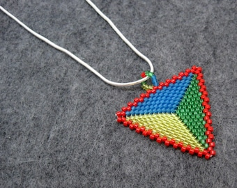 Beaded Pendant - Peyote Triangle - Red Yellow Green Blue by randomcreative on Etsy