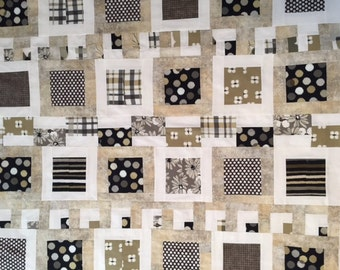 Modern Unfinished Baby Quilt Top - Gray, Taupe, Black, White
