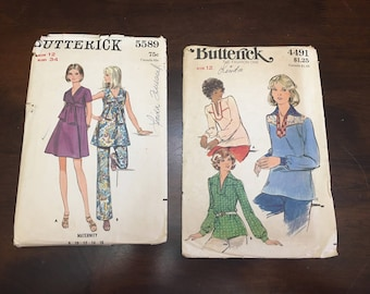 Vintage Ephemera Scrap Booking Paper Detash CUT Sewing Patterns Lot Butterick 4491 & 5589
