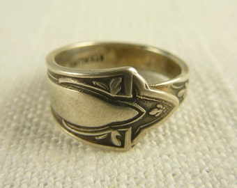Size 4 Vintage Sterling Art Deco Spoon Ring