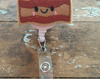 Happy Bacon ID badge reel holder retractable clip