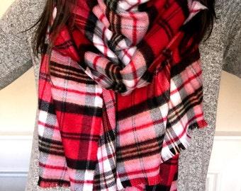 Red, Black & White Blanket Scarf/Shawl