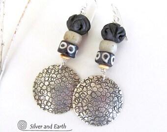 Sterling Silver Tribal Earrings, African Earrings, Ethnic Tribal Jewelry, Bohemian, Boho Silver Earrings, Unique Handmade Sterling Jewelry