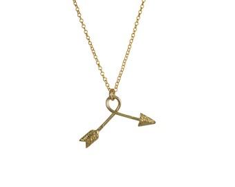 Lost & Found, goldenen Pfeil Halskette, Silber, Pfeilspitze, gebogener Pfeil, Broken Arrow Kette, einzigartige Kette, Gold