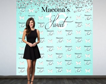 Sweet 16 Personalized Photo Backdrop -Diamonds and Bows Photo Backdrop- 16th Birthday Photo Backdrop - Aqua Printed Photo Booth Backdrop
