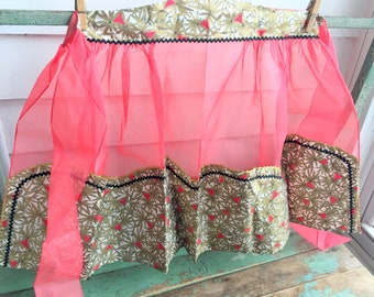 Vintage red Organza half Apron with metallic gold Flower Fabric accents