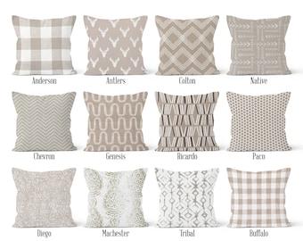 Ecru Beige Pillow Cover, Decorative Throw Pillow Covers, Euro Pillow Sham 16 x 16, 18 x 18, 20 x 20, 22 x 22, 24 x 24, 26 x 26