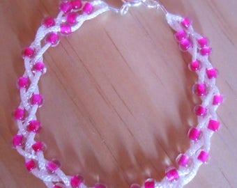 Wedding bracelet wire and fuchsia heart beads