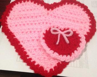 Crochet Valentine's Day Coaster and Mini Heart Pattern - Digital Download- Easy crochet pattern