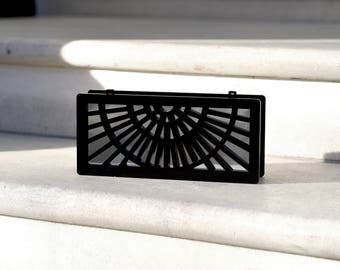 Phoebe clutch in black with mirror