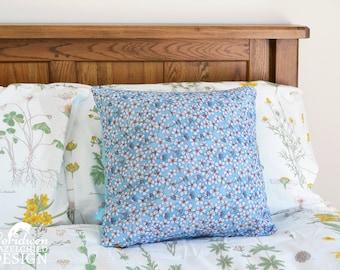 Cherry Blossom Decorative Throw Cushion, Blue Floral Cushion Cover, Throw Cushion, Pillow, Decorative Cushion, Floral Cushion Cover