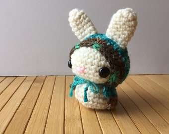 Turquoise Forest Moon Bun - Amigurumi Bunny Rabbit with Removable Hood - Red Riding Hood Style Bunny