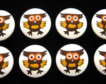 SILLY OWLS - Set of 8 - Hand Painted Drawer Knobs
