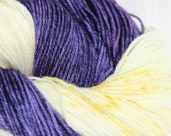 RTS Hand dyed yarn, Purple/ yellow yarn, speckled yarn, variegated yarn, superwash merino wool, bulky weight, 100g