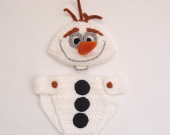Olaf Snowman Frozen Costume Hat And Diaper Cover Set Disney Hat Wig - Halloween Wig/Cosplay Wig/ Baby Shower