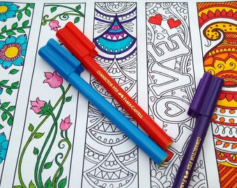 Coloring bookmarks, bookmark coloring, Bookmarks to colour, bookworm dad,Gifts for Bookworms,printable bookmarks,diy bookmark colouring page