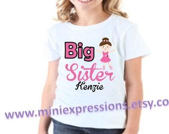 Ballerina BIG SISTER shirt Personalized