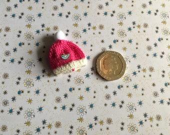 Dollshouse 1/12th miniature hand knitted toddler doll Warm winter bobby hat