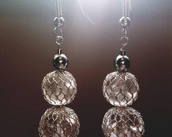 Silver mesh ball drop earrings