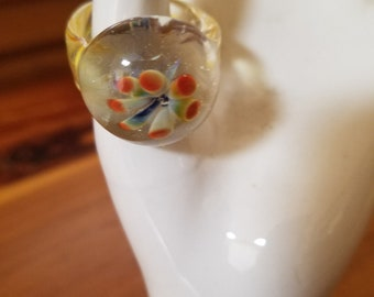 Hand blown glass sculpture in the form of a ring