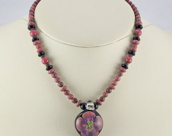 Floral Extravaganza in Lampwork Glass Pendant with Rhodonite,Onyx Necklace Set