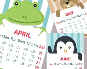 Planner, calendar, 2018, animals, Funy