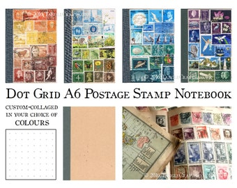 Bullet Journal Notebook, Dot Grid BuJo | Boho Pocket Travel Journal A6 | Quirky Eclectic Office Gift | Custom Colour Postage Stamp Art