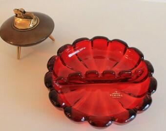 Vintage Red Viking Glass Ash Tray