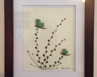 Genuine green sea glass art, pebble art, dragonflies, collage, wall decor, framed artwork, home decor, unique gift, Big Sur california