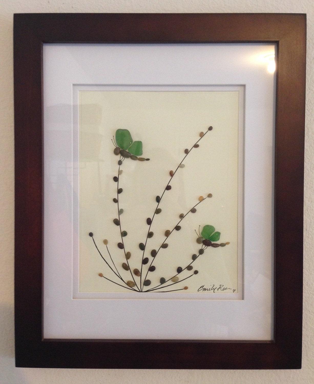 Arte en vidrio originales verde mar arte guijarro libélulas