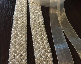 Bridal Wedding Sash Ivory and silver beads with organza ribbon.