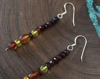 Amber sterling silver earrings, baltic amber earrings, amber clip on earrings
