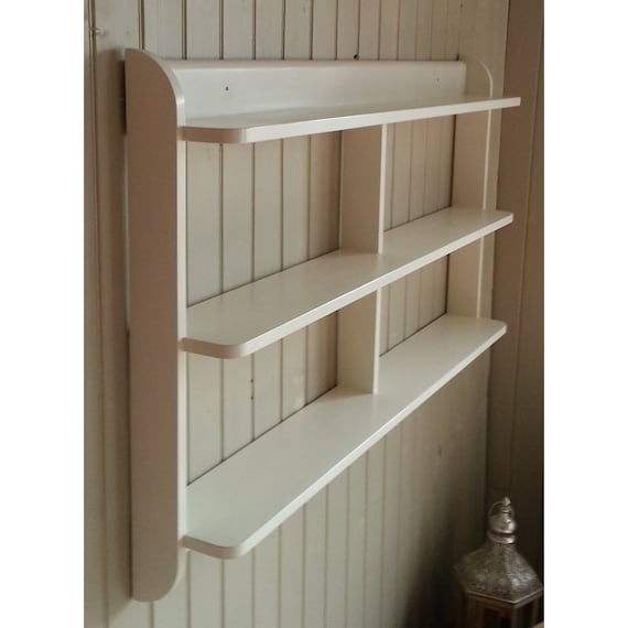 Kitchen Shelves Wall Mounted: Wide Wall Mounted Open Back Shelf Unit. Painted Kitchen