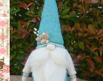 Shabby-chic gnome, gnome prince of the sea, marine gnome,Tomte, Prince Gnome, gnome with shells, turquoise gnome, collectible gnome, king
