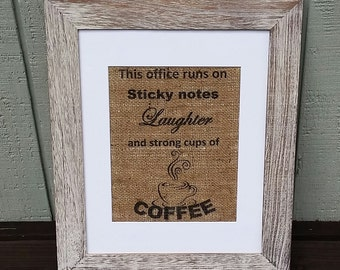 Coffee sign Office sign This office runs on Burlap sign Shabby chic Home office Rustic decor Home & living Cute office decor Coffee lover