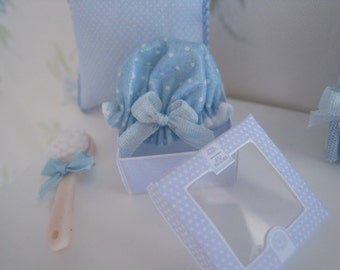 Dollhouse Shower Cap. Polka Dots. One inch scale toiletry