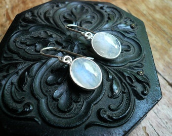 Moonstone Earrings in Sterling Silver - Dainty Everyday Rainbow Moonstone and Silver Drop Oval Earrings