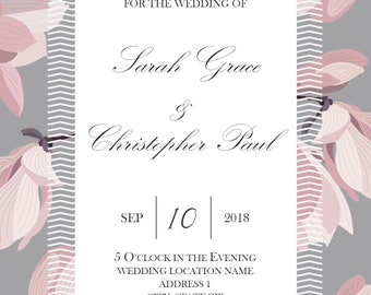 Modern Floral Wedding Invitation Suite - Chevron - Grey - Pink - Purple